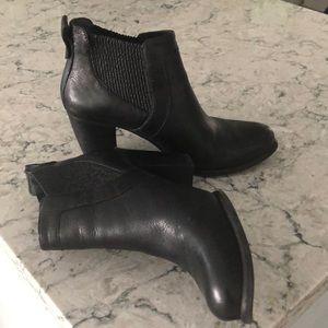 UGG black heeled booties, size 10